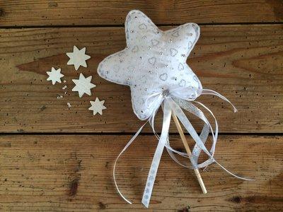 Bacchetta magica, bacchetta stella, bacchetta in feltro, stella con perline, bacchetta fata, principesse, bacchetta magica argento
