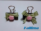 Clips   SHABBY GREEN  per traveler's notebook  in metallo realizzate a mano