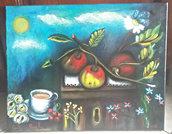 dipinto originale eseguito a mano olio su tela dipinto d'autore dal titolo il mio sogno nel cassetto