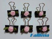 Clips  SHABBY ROSE PINK per Midori in metallo realizzate a mano