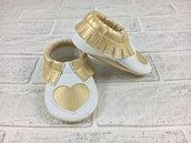 Mocassini ecopelle Cuore Oro con frange - Bimbi Neonati 3/6 mesi