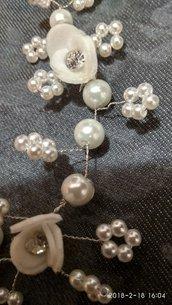 Filo di perle e rose con strass per Sposa