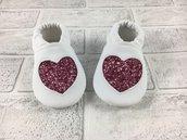 Scarpine ecopelle con cuore Glitter - Bimba Neonata 3/6 mesi