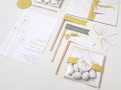 SET BATTESIMO personalizzabile / kit fai da te biglietto invito, tag, bigliettini bomboniere / bianco e giallo / formato digitale e cartaceo