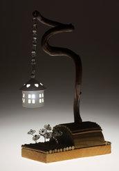 MINI LANTERNA TWISTER da tavolo con fiori di vetro antico - ramo di glicine - handmade - portacandela