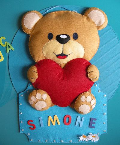 simpatico orsetto del cuore - annuncio - ghirlanda - fiocco nascita - birth wreath