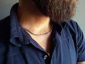 Collana uomo in acciaio inossidabile, catena maglia figaro. Idea regalo ragazzo, papà, fidanzato. Fatto a mano
