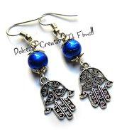 Orecchini Mano di Fatima Con perle Blu- handmade