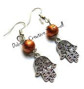 Orecchini Mano di Fatima Con perle Arancioni - handmade