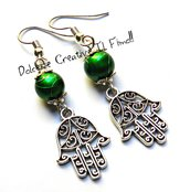 Orecchini Mano di Fatima Con perle Verdi - handmade
