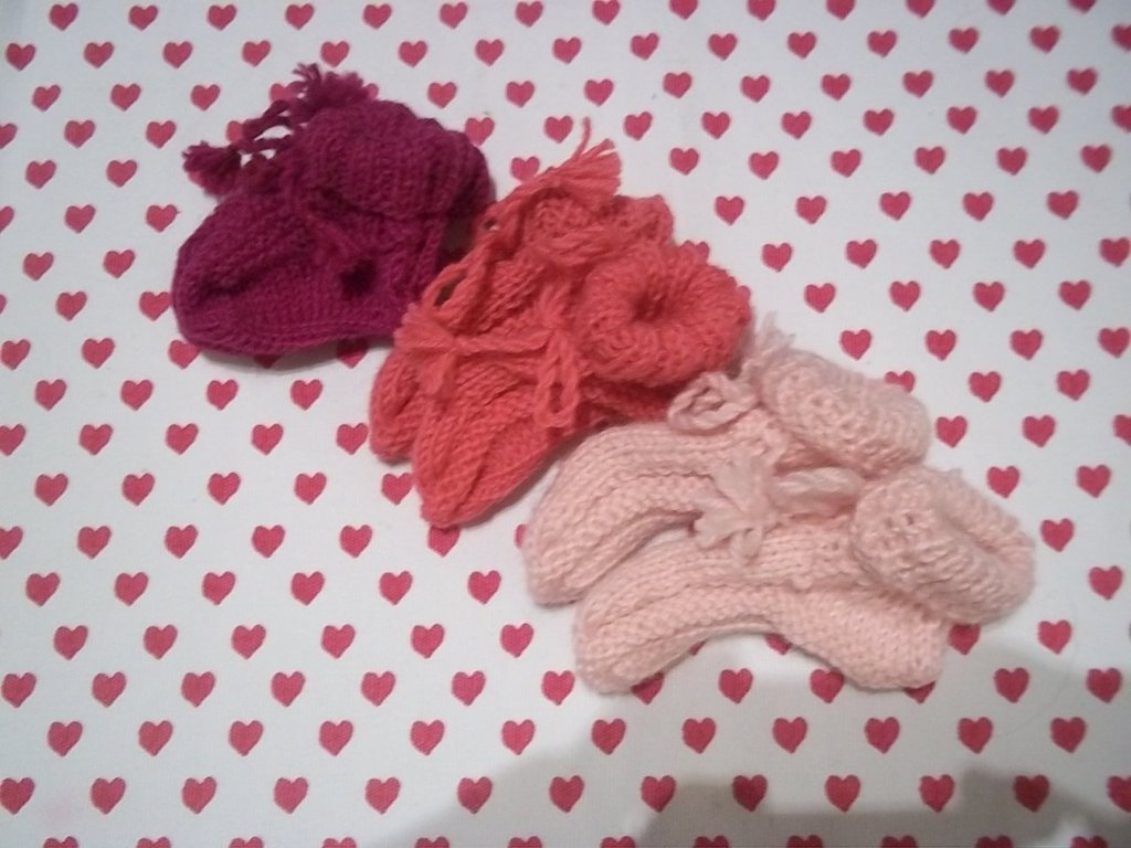 Set 3 scarpine da neonato tris di rosa
