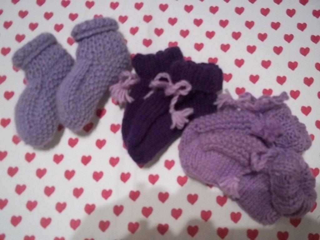Tris scarpine neonato viola e lilla