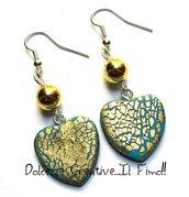 Orecchini Cuore - color turchese con foglia oro - eleganti con perla color oro