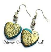 Orecchini Cuore - color turchese con foglia oro - eleganti con perla color argento