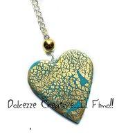 Collana con cuore color turchese - con foglia oro - idea regalo fimo - cernit - handmade