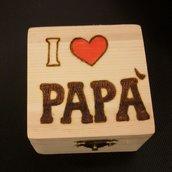 """scatolina in legno """"I love papà"""""""