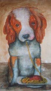 Dipinto acquerello titolo il cane mangione