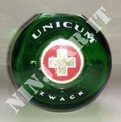 Vaso artigianale da Bottiglia vuota Amaro Unicum riciclo creativo riuso arredo design idea regalo