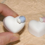 Gessetti cuore cuori coccinella azzurra bomboniere nascita battesimo