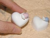 Gessetti cuore cuori coccinella rosa bomboniere nascita battesimo