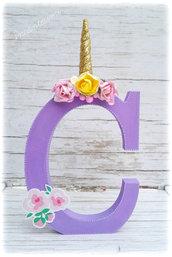 Lettera legno decorata, cake topper unicorno, lettera decorativa, decorazione per bambina, cake topper bambina, lettera personalizzata, alfabeto decorato, alfabeto personalizzato