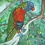 dipinto a mano acquerello pappagallo unico pezzo