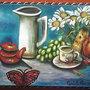 dipinto olio su tela 30x40 cm,dal titolo il ritrovo delle cose