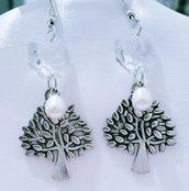"Orecchini pendenti in argentone ""Albero perla"""