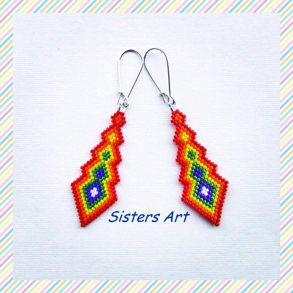 """Orecchini """"Inca"""" realizzati con perline Miyuki delica"""