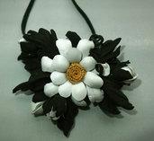 Fiore margherita di vera pelle per capelli o per collana