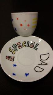 """tazzina da caffè con piattino """"a special dad"""""""