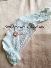 Coprispalle /maglia bambina bianco con fiore e perlina