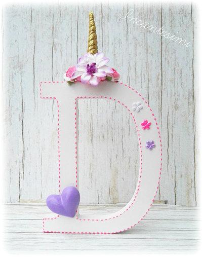 Lettera legno decorata, cake topper unicorno, lettera decorativa, decorazione per bambina, cake topper bambina, lettera personalizzata, alfabeto decorato, iniziale personalizzata