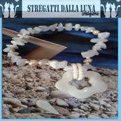 Bracciale agata blu  e perle, estate addosso