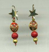 Orecchini pendenti in argento dorato con stellina e coccinella in smalto cloisonne'