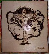 Quadro pirografato a mano.  Crocifissione Gesù