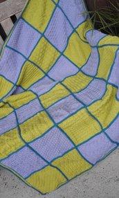 Coperta in lana merino nuova fatta a mano crochet