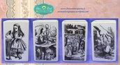 Bicchiere in fotoceramica per il bagno a tema Le avventure di Alice nel paese delle meraviglie decorato su tutti e 4 i lati