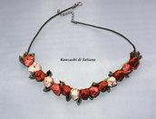 Collana kanzashi  con fiori 2