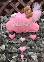 Fiocco nascita Orsetto con tutù su nuvola- cuori pendenti