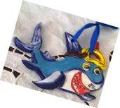 3 Piccoli pesci di ceramica da appendere o con calamita vivacemente colorati