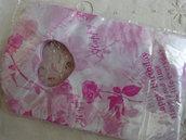 25 bustine plastica bianche con rose15x9 cm.