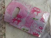 20 bustine plastica bianche con disegni rosa e verdi 15x9 cm.