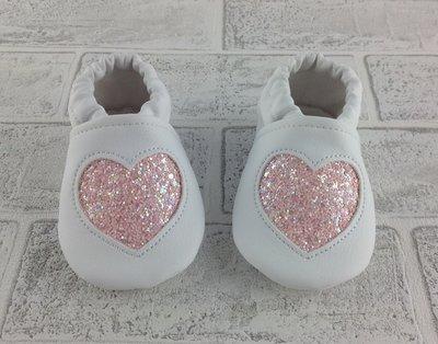 Scarpine ecopelle Cuore rosa glitter - Bimba Neonata 3/6 mesi