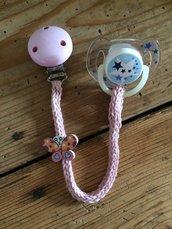Catenella porta ciuccio, portaciuccio rosa, portaciuccio in cotone, catenella bimba, regalo nascita