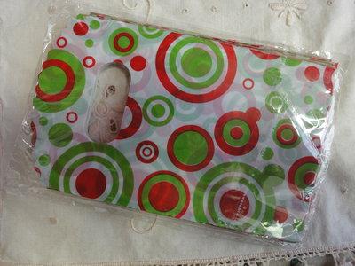 10 bustine plastica bianche con cerchi rossi e verdi 15x9 cm.