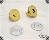 Chiusura a calamita per borse, Ø 18 mm, in metallo colore oro, facile applicazione con alette