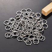 Anelle in acciaio inox per creare gioielli/stainless steel open ring 100 pezzi set 6 mm