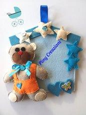 Fiocco nascita con orsetto Teddy ghirlanda fuoriporta