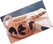 Lota di ceramica, strumento per lavaggi nasali, modellato a mano fondo rosa con motivi neri